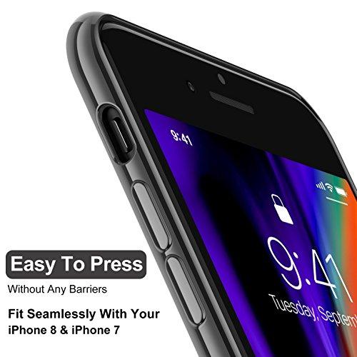 """iPhone 7 Hülle, iPhone 8 Hülle, CASEKOO Silikon Dünn Case Transparent Weich Durchsichtig Leicht Cover Ultra Slim TPU Schlank Bumper Handyhülle Soft Kratzfest Schutzhülle für iPhone 7 und iPhone 8(4.7"""" c. Space Grau"""