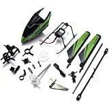 NUOLUX Professional WLtoys V911 V911-1 RC Helicopter Spare Parts Accessories Kit Set Head Cover Main Blade Balance Bar Main Frame Landing Skid Vertical Tail Connect Buckles (Green)