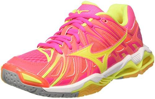 Mizuno Wave Tornado X2 Wos, Zapatos de Voleibol para Mujer, (Pinkglowhiteirongate), 39 EU