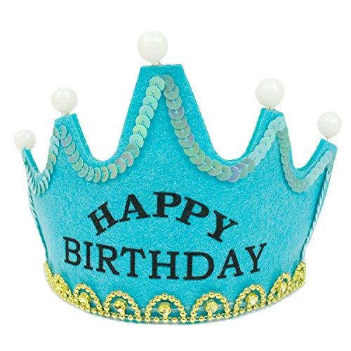 LED Licht Removable Birthday Party Hüte Crown Geburtstag Party Dekoration Caps Für Kinder Erwachsene Herzlichen Glückwunsch Zum Geburtstag Blau (Crown Cap Hüte)