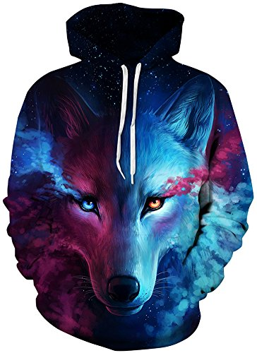 TDOLAH Herren 3D Druck Kapuzenpullover Cartoon Sweatshirt Weihnachten Langarm Top Shirt Herbst Spaß Hoodie (L / XL (Brustumfang: 114-134CM), A-Wolf) (Herren-wolf)