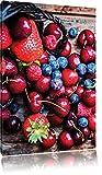 Rote Beerenfrüchte auf edlen Holzdielen , Format: 80x120 auf hochkantiges Leinwand, XXL riesige Bilder fertig gerahmt mit Keilrahmen, Kunstdruck auf Wandbild mit Rahmen, günstiger als Gemälde oder Ölbild, kein Poster oder Plakat