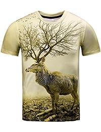 Zarupeng Jungen Herren Hirsch T-Shirts 3D Druck Sommer Top Kurzarm  Sweatshirt 01c5f99aae