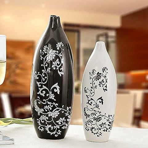 Lx.AZ.Kx Regali in ceramica di artigianato e ornamenti regali di nozze la casa moderna decorazioni,il grande bianco nero - Nuova Casa Di Vetro Ornamento