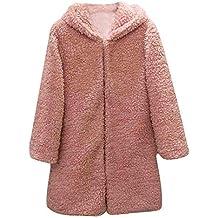 Mujer Abrigo Pelo Invierno,Slim Casual Sólido con Capucha Abrigo de Mujer Cardigan Abrigo Largo