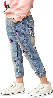 Fansi Süße und Verspielte Jeans Mädchen Jeans Kinderhose Kirsche Jeans Lässige Jeans