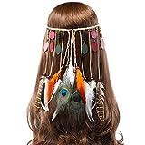 AWAYTR Feder Stirnband Hippie Festival Kopfschmuck - Frauen Boho Stirnband Native Stammes Festival Kopfstück Karneval Federschmuck (Holzschnitzel)
