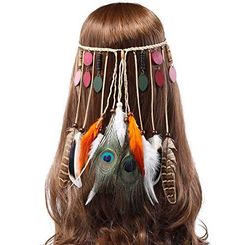 AWAYTR Feder Stirnband Hippie Festival Kopfschmuck - Frauen Boho Stirnband Native Stammes Festival Kopfstück Karneval Federschmuck - Minimalistische Kostüm