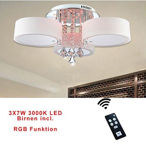 Preisvergleich Produktbild Style home® 21W RGB Kristal LED Deckenlampe Deckenleuchte 6103 3 Flammig*7W Warmweiss Birnen mit Fernbedienung incl.