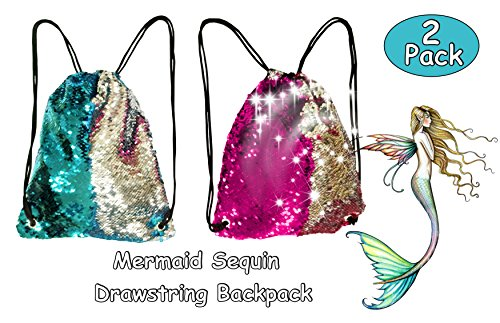 Toyme 2 confezione Mermaid paillette borsa zaino con coulisse, Magic Dancing, Glittering sport zaino per bambini, adulti