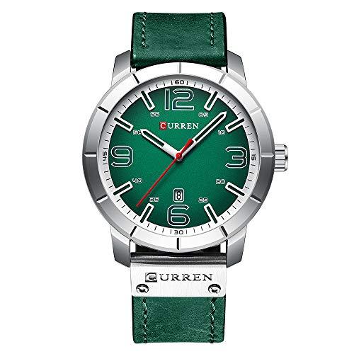 CURREN Herren Uhr Quarz Leder Täglich wasserdichte Runden Zifferblatt Handgelenk Watch