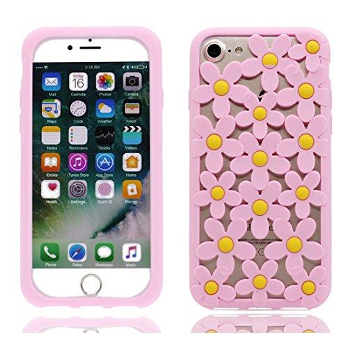iPhone 6 Copertura,iPhone 6S Custodia,bel fiore Design di calore a caldo Gomma Custodia protettiva case cover per iPhone 6/6S 4.7 inch-rosso rosa