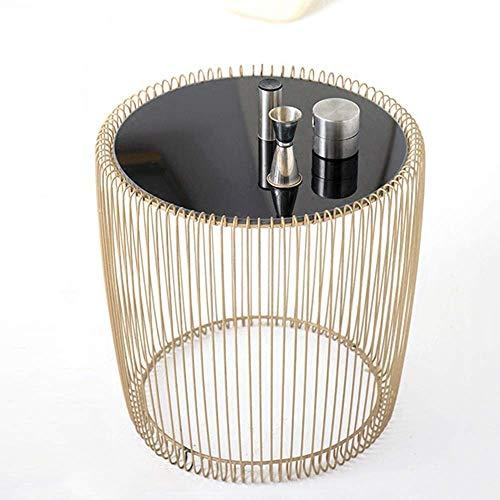 XHHWJJ Hausgarten-Akzent-runder Eisen-Metallbeistelltisch für Innen- im Freien (Eisen Runde Nachttisch)