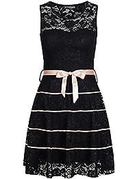 6cf6a822feb595 violet Fashion Damen Kleid kurz mit Brustpolster Spitze All Over und  Schleife schwarz rosa