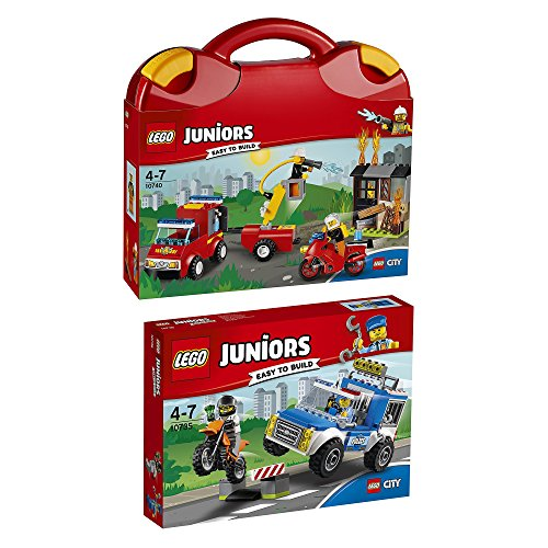 Preisvergleich Produktbild Lego Juniors 2er Set 10740 10735 Loschtrupp-Koffer + Polizei auf Verbrecherjagd