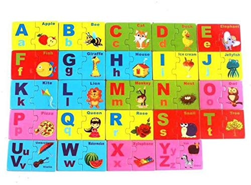 Hnt Kids Wooden English Letter Matching Jigsaw Puzzle for Kids