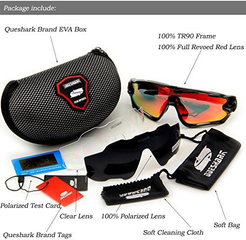 Queshark Fahrradbrille Sport Sonnenbrille für Herren und Damen Polarisierte, Sportbrille mit 3 Wechselobjektiven und Frauen Radsports - 6