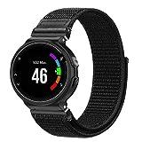 Fintie Armband kompatibel für Garmin Forerunner 235/220 / 230/620 / 630 / 735XT Smart Watch - Premium Nylon Uhrenarmband Ersatzband mit Verstellbarem Verschluss, Schwarz