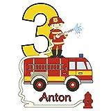 MissRompy Geburtstag Bügelbild Feuerwehr (834) für dunkle und helle Stoffe Zahl groß Aufbügler Alter Bügelbilder Applikation Aufbügelbild