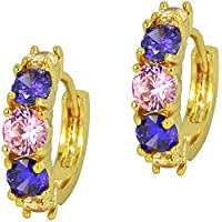 Rosette IMPERIALE - Genuine 18ct Rose Gold Finished Swarovski Elements Multi Coloured Crystals Luxury Studded Earrings lyEiQbZ3