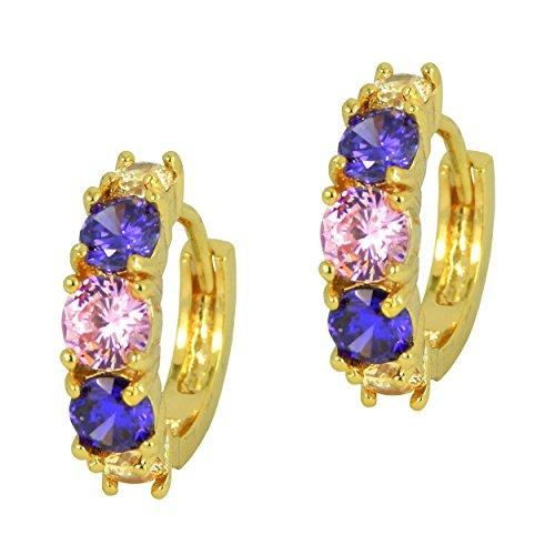Hot trendy cerchio stile-placcato oro triangolo orecchini di cristallo multicolore, viola e rosa in confezione regalo - Hot Diamonds Cerchio Orecchini