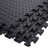 12 Stück Schutzmatten Set Bodenschutz Matte Bodenschutzmatte Puzzlematte Gymnastikmatte Unterlegmatte Bodenmatte (Schwarz) - 5