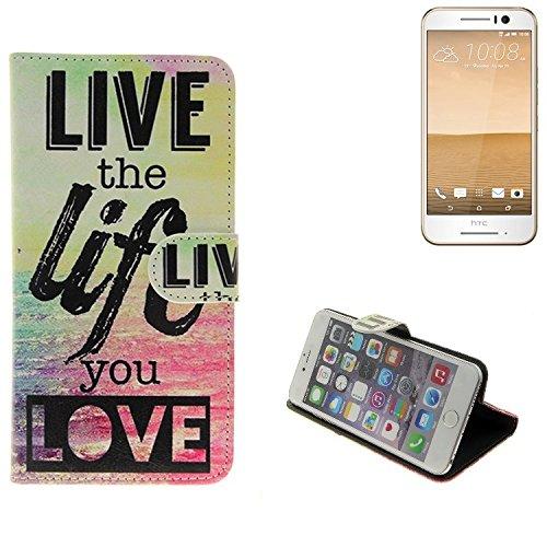 TOP SET für HTC One S9 360° Wallet Case Schutz Hülle \'\'live the life you love\'\' Schutzhülle Handy Hülle Handyhülle Handy Tasche Etui Smartphone Flip cover Flipstyle für HTC One S9 - K-S-Trade (TM)