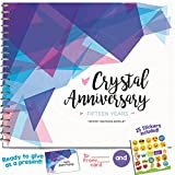 15TH ANNIVERSARY GIFTS FOR COUPLES BY YEAR - Fifteen Year Booklet with Matching Card for Crystal Anniversary. Fifteenth Anniversary Memory Journal - Unique 15 Year Wedding Gift for Husband or Wife!