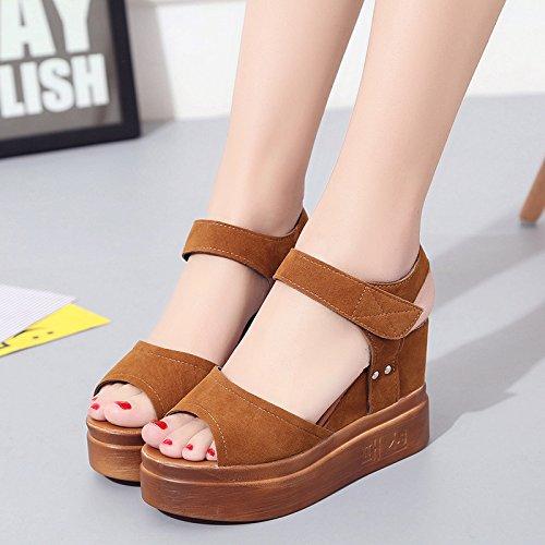 Lgk & Fait Été Talon Sandales Sandales Des Femmes D'été Sandales À Fond Épais Chaussures D'étudiant Brown