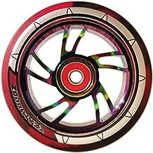 Par de habló ruedas 110 mm - nebulosa Rainbow beaterio, negro y rojo Mix PU