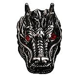 PAURO Bague de Dragon Nationale en Acier Inoxydable pour Hommes avec de Diamant Rouge Taille 60