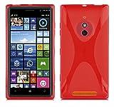 Cadorabo Hülle für Nokia Lumia 830 Hülle in Inferno Rot Handyhülle aus flexiblem TPU Silikon im X-Line Design Silikonhülle Schutzhülle Soft Back Cover Case Bumper Inferno-Rot