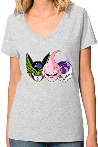 Dragon Ball Z Villanos Heads Funny V collo maglietta da donna Medium