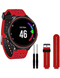 Tongshi Para Garmin Forerunner 230/235/630,Reemplazo de silicona suave venda del reloj (rojo)