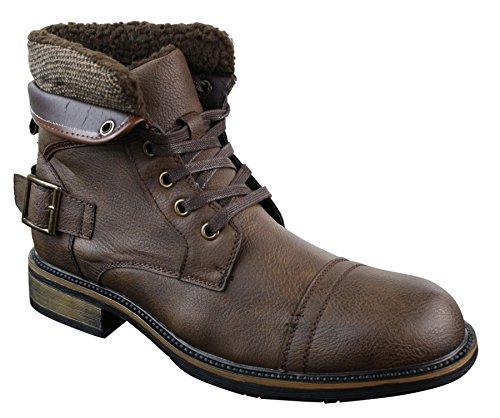 7fe95acc09e13 Bottes hommes boots cuir PU doublure polaire style militaire bikers avec  boucle