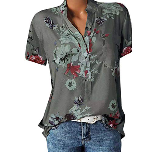 Bluse Kurzarm Damen Elegante Oberteile Übergröße Sommer Blumen V Ausschnitt Knopfleiste Tunika T-Shirt Vintage Floral Henley Shirt Hemd Locker Pullover Hemdbluse Tops Sweatshirt Streetwear Rovinci -
