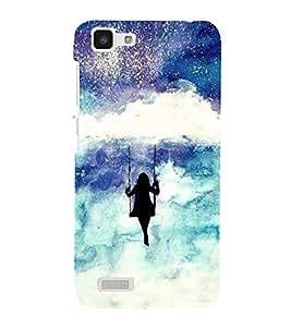 FUSON Girl Swinging On Cloud 3D Hard Polycarbonate Designer Back Case Cover for Vivo Y27 :: VivoY27L