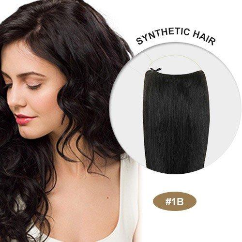 Secret Hair/ Flip-In Hair 20 Inches Invisible Attached Straight Hair / Balabella Hair (Natural Black(#1b))