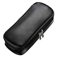 BTSKY Multifunctional PU Leather Pencil Case - High Capacity Pencil Pouch Stationery Organizer, Makeup Pouch, Zipper Bag, School Students Stationery (Black)