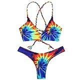 ZEZCLO Damen Tie Dye Geflochtene Criss Cross Bikini Set Bunte Bikinis Thong Bademode(Blau L