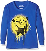 Minions Boy's Graffiti Ls T-Shirt Sml Age Long Sleeve Tops, Blue (Royal Blue), 5-6 Years (Manufacturer Size:Small)