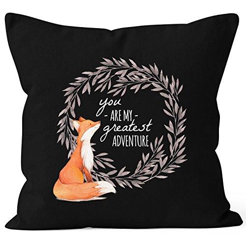 MoonWorks Kissenbezug Geschenk Liebe You Are My Greatest Adventure Fuchs Fox Kissen-Hülle Deko-Kissen 40x40 Baumwolle schwarz 40cm x 40cm