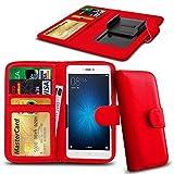 N4U ONLINE - Clip Serie PU- Leder Brieftasche Buch Fall für Samsung Galaxy S5 LTE-A G901F - Rot