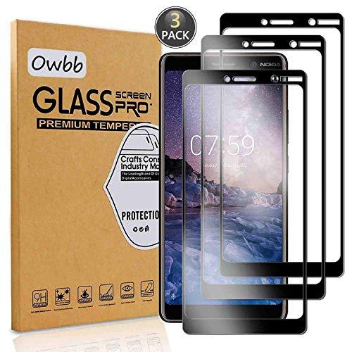 Owbb [3 Stück] Schwarz Gehärtetes Glas Bildschirmschutzfolie Für Nokia 7 Plus Smartphone Full Kleber Coverage Schutz High Transparent Explosionsgeschützter Film