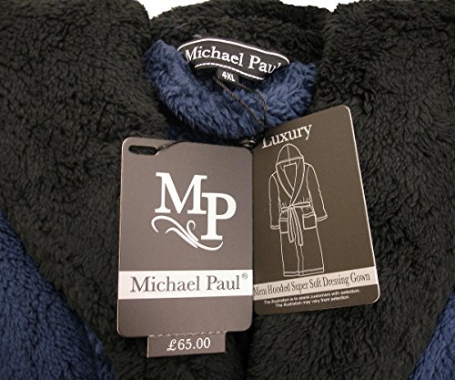 MICHAEL PAUL Men's Hooded Soft Snuggle Fleece Dressing Gown navy blue / black