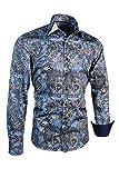 Giorgio Capone Herrenhemd, 100% Baumwolle, blau-schwarz-weiß mit Paisley Muster, Langarm, Slim/Normal & Regular-Plus Fit (XXL Regular-Plus mit Brusttasche)