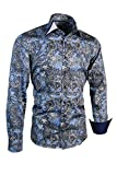 Giorgio Capone Herrenhemd, 100% Baumwolle, blau-schwarz-weiß mit Paisley Muster, Langarm, Slim/Normal & Regular-Plus Fit (M Slim/Normal)