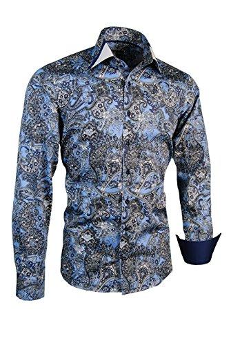 Giorgio Capone Herrenhemd, 100% Baumwolle, blau-schwarz-weiß mit Paisley Muster, Langarm, Slim/Normal & Regular-Plus Fit (XL Slim/Normal) -