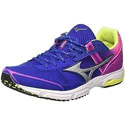 Mizuno Wave Emperor Wos, Zapatillas de Running para Mujer, (Surftheweb/Silver/Electric 03), 38 EU