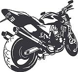 GRAZDesign 610121_57_073 Wandtattoo Motorrad | Deko Aufkleber für Jugendzimmer/Wohnzimmer | Wandaufkleber für Kinder/Jungs (62x57cm//073 dunkelgrau)